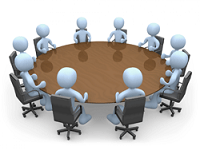 Cartoon image of people at a committee table