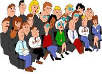Cartoon of people in a meeting